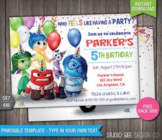 Inside Out Invitation - INSTANT DOWNLOAD - Printable Disney Pixar Inside Out Movie Birthday Invite - DIY Personalize & Print - (IOin05) by StudioBeeDesignCo on Etsy https://www.etsy.com/listing/241009008/inside-out-invitation-instant-download