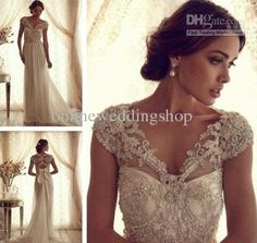 Wholesale A-Line Wedding Dresses - Buy Gorgeous Sheer V Neck Off Shoulder Anna Campbell Gossamer Collection Chiffon Wedding Dress Long Brida...