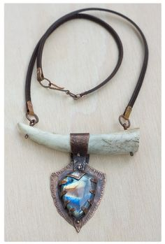 Antler and labradorite talisman necklace: Shamanic necklace - Tribal necklace - Rustic copper labradorite necklace - Leather Amulet - by…