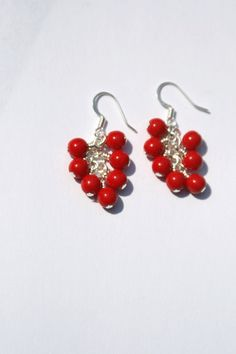 Cherry Red Opaque Czech Glass Cluster Earrings by creationsbycandice