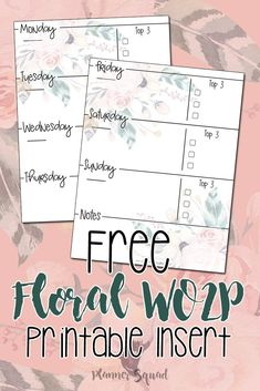 Pretty up your planner inserts with this free fabulous floral wo2p printable
