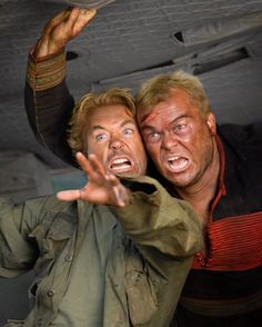 Still of Robert Downey Jr. and Jack Black in Tropic Thunder