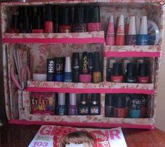 Faça você mesma -Diy organizador de esmaltes com caixa de papelão -Blog Dikas e diy