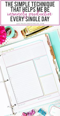 I love this technique she uses for planning her day and being more productive! I could get so much done! And the free printable is really cute too! Click through to the post to snag it!