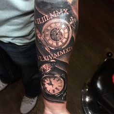 pocket watch forearm tattoos - Google Search