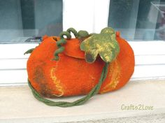 Wool felted purse. Orange pumpkin. Fall felted bag.♡ by Crafts2Love