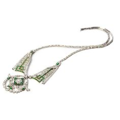 Diamond and Emerald Art Deco Necklave available at Windsor Jewelers, Inc. in New York City
