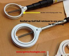 Repaired golf ball retriever using 3D printing. Assembly was printed in one piece.