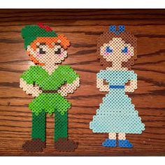 Wendy and Peter Pan perler beads by muuchpizza
