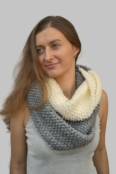 Knit Scarf Two Colors Infinite Knitted  Scarf Tube Loop Scarf Large Grey Knitted Scarf Large Loop Christmas Present Birthday Gift (40.00 USD) by skeinofwool