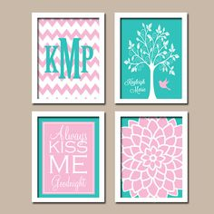 Monogram Child Name Chevron Pink Turquoise Tree Bird Flower Kiss Me Goodnight NURSERY Print Artwork Set of 4 Prints WALL ART Decor Girl Baby