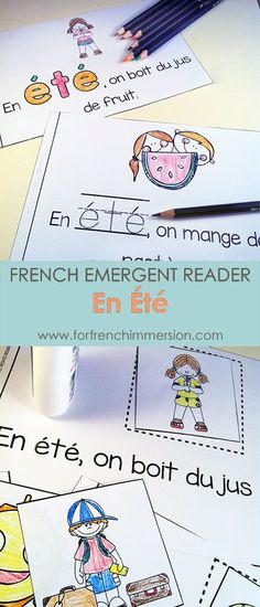 """French Summer Emergent Reader: En Été. Kids will be working with the focus sight word by writing, cutting and pasting, tracing, reading, and more! Includes many size options and a """"big classroom book"""" in color and B&W. Fun and effective printable for the French Immersion classroom! Pour l'été :)"""