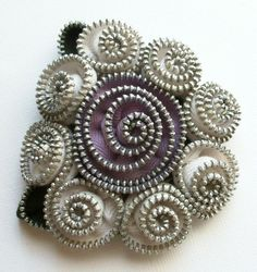 Worcester, MA White and Lavender Floral Brooch / Zipper Pin by by ZipPinning, $40.00