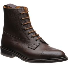 Trickers shoes   Tricker Country Collection   Calvert boot in Dark Brown Grain at Herring Shoes