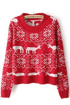 red deer snowflake sweater; love it in navy and nude