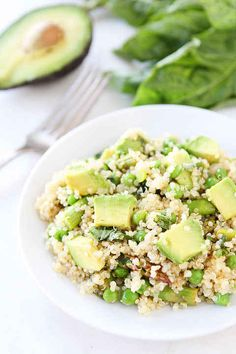 Quinoa Salad With Asparagus, Peas, Avocado, and Lemon Basil Dressing