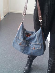 Recycled denim and leather bag by reloveduk