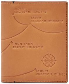Fossil Men's Leather Rfid Passport Case-Asia - Brown