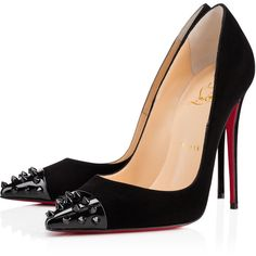 Christian Louboutin Geo Pump ($725) ❤ liked on Polyvore featuring shoes, pumps, heels, christian louboutin, louboutin, black, black spiked pumps, christian louboutin shoes, black high heel shoes and spiked heel pumps