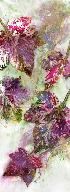 """""""Cascade"""" Watercolour with Daniel Smith Iridescent Gold.  This pieces was inspired by our many drives thru Glacier National Park"""
