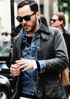 Barbour jacket-and-denim-jacket-and-crew-neck-sweater-and-longsleeve — Blue Denim Jacket — Navy Crew-neck Sweater — White Longsleeve Shirt — Navy Jeans Style Masculin, Denim Look, Blue Denim, Denim Style, Navy Jeans, La Mode Masculine, Herren Outfit, Sharp Dressed Man, Men Street