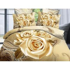 ベッドカバー・リネン ヨーロッパテイスト 3D Print カバーセット 【White Rose】
