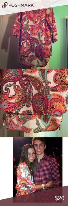 Size small paisley multicolored chiffon top❤️ Size small multicolored paisley chiffon top.. longer in the back.. 3/4 sleeves--maybe worn twice-- smoke free home and 0 flaws--interested? make an offer!  not mumu did for exposure--bought from local boutique Show Me Your MuMu Tops Blouses