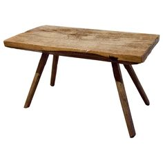 Primitive wood table  European  19th Century  Primitive wood table with pegged legs