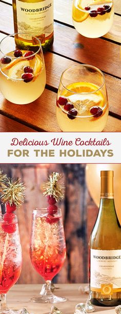 Get into the Christmas spirit with a wine cocktail in your glass! Cheers to these delicious drinks using Woodbridge Wines. Please enjoy our wines responsibly. 2016 Woodridge Wines, Acampo, CA (Pour Wine Cocktails) Wine Cocktails, Cocktail Drinks, Cocktail Recipes, Wine Recipes, Cocktail Glass, Sangria, Party Drinks, Fun Drinks, Yummy Drinks