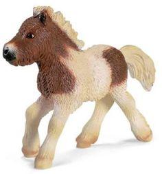 schleich Figurines horses | Schleich Pinto Shetland Pony Foal Horse Figurine #13608