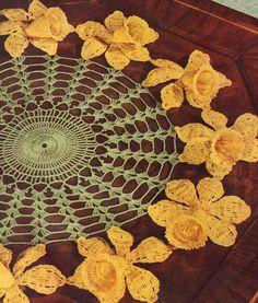 Crocheted Doily/Centerpiece: Daffodil Flowers