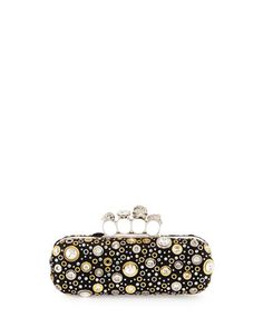 4b73d0db35b Alexander McQueen Knuckle Long Box Crystal Clutch Bag, Black