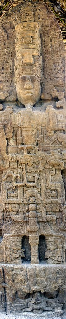"""Ancient Alien Theory: Many ancient cultures believe their ancestors were visited by """"star brothers"""" who came from the sky. This is one example of, what some believe, is a depiction of ancient advanced technology. Stele D, Mayan site of Quiriguá, Guatemala Ancient Ruins, Ancient Artifacts, Ancient History, Maya Art, Ufo, Ancient Astronaut Theory, Alien Theories, Mesoamerican, Mystery Of History"""