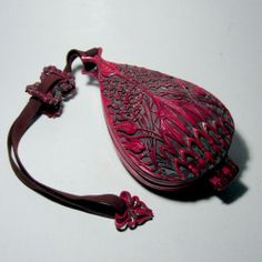 Antique 19th C Carved Cinnabar Celluloid Vanity/Compact Dance Purse Netsuke&Inro