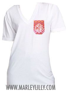 Monogrammed White VNeck Pocket T-Shirt Marley Lilly, White V Necks, Dress Me Up, Fashion Advice, How To Look Pretty, Dress To Impress, Me Too Shoes, Fashion Beauty, Style Inspiration