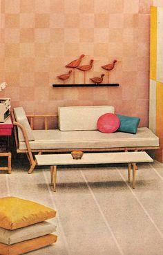 1955 mid century modern living room bench #retrofurniture #retrohome #retrorenovation http://www.retrorealtygroup.com