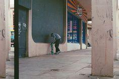 Waxing a ledge in Blackpool, UK May // Jake Powell © 2018 . Film Photography, Street Photography, Blackpool Uk, Graffiti Tagging, Jake Owen, Youth Culture, 35mm Film, Skateboards, Nike Sb