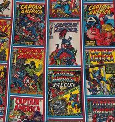 Stoff retro - Stoff FQ :: Captain America comic :: - ein Designerstück von nosgustanlosretros bei DaWanda