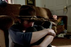 Carl Grimes (Chandler Riggs) and Rick Grimes (Andrew Lincoln) in The Walking Dead Season 4 episode, After.