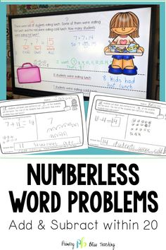 Does teaching first graders to solve addition and subtraction word problems leave you feeling overwhelmed. Numberless Word Problems to the rescue! First Grade Classroom, First Grade Math, Math Fact Fluency, Math Words, Math Word Problems, Math Facts, Teaching Strategies, Addition And Subtraction, Elementary Math