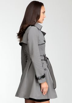 Patent Trim Trench Coat - Bebe - the back is gorgeous