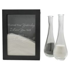 Sand Ceremony Shadow Box - Always Design We did the sand ceremony at our wedding, but these are cool little sets, and my favorite phrase, I would love to do it again when we renew our vows, but get colored sand for the kids too and do a family one :)