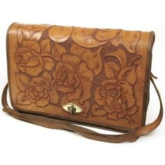 Floral vintage leather bag.