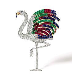Cartier Flamingo Clip 1940 - Lot 20 - Duchess of Windsor jewel auction
