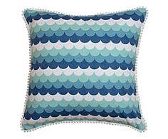 Housse de coussin HOLLY coton, bleu et blanc - 45*45