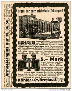 Original-Werbung/Inserat/ Anzeige 1912 - PHOTO-APPARATE KÖHLER BRESLAU ca. 120 X 90 mm