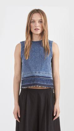 Theory Reil Denim Top in Indigo Denim Fashion, Fashion Outfits, Estilo Jeans, Denim Ideas, Fashion Cover, Recycled Denim, Denim Top, Vintage Denim, Diy Clothes