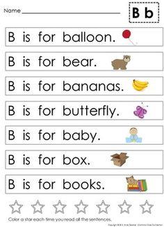 Alphabet Sentences to Teach Letter Recognition & Reinforce Teaching Letter Recognition, Teaching Letters, Teaching Phonics, Preschool Letters, Letter Tracing, Teaching Resources, Kindergarten Reading Activities, Phonics Reading, Preschool Worksheets