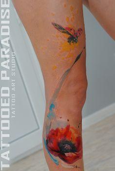 watercolor poppy +ladybug by dopeindulgence.deviantart.com on @deviantART