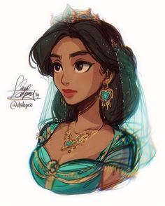 Princess Jasmine from Disney's live action movie, Aladdin Disney Live, Film Disney, Disney Movies, Disney Characters, Punk Disney, Disney Princess Drawings, Disney Princess Art, Disney Fan Art, Disney Drawings